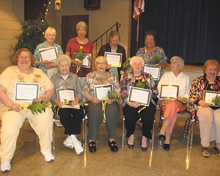 "The League of Women Voters of Greater Youngstown honored longtime members, from left, seated: Anne Harpman, Jane Beilby, Nancy Brundage, Mary Rita Carney, Virginia Shorten and Rose Marie Wolf, and standing, Marion Gillette, Mary Ann Limmer, Deb Matthews and Fran Wilson. Also honored were Norma Coe Anderson, Betty Beelen, Dr. Barbara Brothers, Marilynn Harrison, Kathleen Johnson, Gloria Rule and Toni Schildcrout. The league is forming a book club with the first meeting planned at 6 p.m. Aug. 22 at the home of Dr. Brothers. The first book will be ""It's Even Worse Than It Looks: How the American Constitutional System Collided with the New Politics of Extremism"" by Thomas E. Mann, Brookings Institute, and Norman J. Ornstein, American Enterprise Institute. Send email to bbrothers@neo.rr.com if you wish to participate."