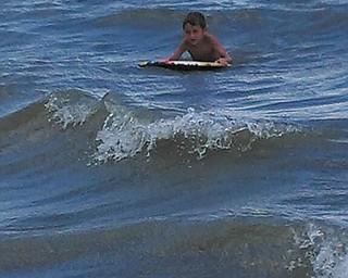 Landon Schneider, 5, of Poland, rides the waves on Hilton Head Island. Photo submitted by Suzanne Verzilli.