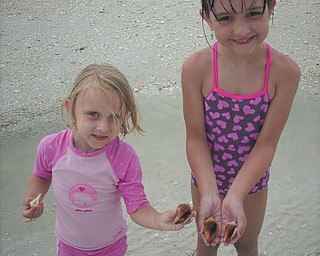 Sisters Camryn and Marissa find live crabs on Lovers Key Beach in Florida. Photo sent in by Kelly Alexander.
