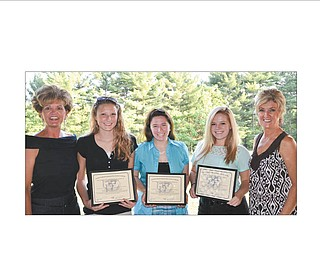 Columbiana Business and Professional Women presented three $1,500 scholarships to area high school seniors during a recent picnic. From left are Jenny Pike, BPW president; Ashlee Coontz, a Leetonia High School graduate who will attend Brown Mackie College in North Canton and major in veterinary medicine; Ashley Orr, a Columbiana High School graduate who will attend Youngstown State University and major in math/chemical engineering; Lauren Makosky, a Columbiana High graduate who will attend YSU and major in pre-optometry/chemistry; and Lori Everly, past president. Makosky also will be a model in BPW's style show Oct. 27 at Salem Golf Club. For information, contact Lori Everly at leverly@yahoo.com or Columbiana BPW on Facebook.