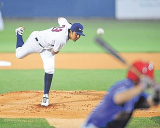 American League starter Luis DeJesus of the Mahoning Valley Scrappers throws a pitch during the top of the  first inning of the New York-Penn League All-Star game Tuesday at Eastwood Field.