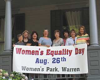Committee members who are planning Women's Equality Day are, from left, Kathy Lepro, Julie Vugrinovich, Ellen Partin, Isabelle Seavey, Eddie Wolcott, Dorie Harris, Terri Crabbs and Mary Lou Jarrett. Members not pictured are Gloria Rodgers and Phyllys Savelle.
