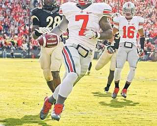 With the days dwindling until the start of Ohio State's first game under Urban Meyer, the 18th-ranked Buckeyes don't really have a go-to guy at running back, considering Jordan Hall (7), heir apparent to Warren Harding's Dan Herron, is still recovering from a cut tendon in his foot.