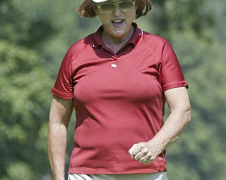 William D Lewis The Vindicator  Veronica Leigh reacts aftr sinking a putt Friday at Mill Creek.