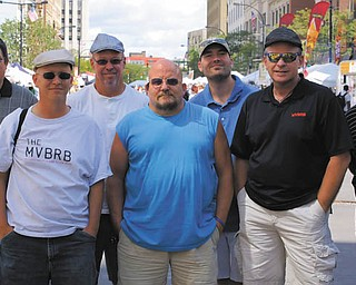 """Members of the Mahoning Valley Burger Review Board traveled to Akron recently to participate as judges at the National Hamburger Festival, which was a benefit for Akron Children's Hospital. They are, from left, Steve Murphy, Anthony Fuda, Scott Long, John Spatar, Eric Tranovich, Jerry """"J.T."""" Tranovich and John Dunn."""