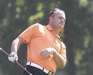 William D Lewis The Vindcator  Corbin Gregorino tees off at Trumbull Saturday.