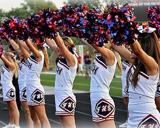 Austintown Fitch Varsity Cheerleaders on the Sidelines Left to Right - Ashlee Bobovnik, Bella Velasco, Elizabeth Mosier, Katie Bruff, Mikah Vaughn and Mandi Koch