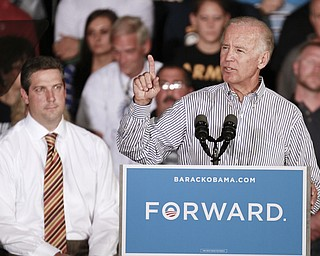 ROBERT  K.  YOSAY  | THE VINDICATOR --..Tim Ryan and Joe Biden..Vice President Joe Biden made several stops in the area on Friday as he stopped in the  UAW  1714  Mocha House and the Canfield Fair...(AP Photo/The Vindicator, Robert K. Yosay)