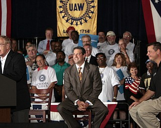ROBERT  K.  YOSAY  | THE VINDICATOR --..Govenor Ted Strickland - Tim Ryan  and UAW David Green -- Vice President Joe Biden made several stops in the area on Friday as he stopped in the  UAW  1714  Mocha House and the Canfield Fair...(AP Photo/The Vindicator, Robert K. Yosay)
