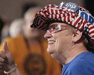 ROBERT  K.  YOSAY  | THE VINDICATOR --..Linda Kovachik  Austintown - a hearty supporter of the Democratic party .Vice President Joe Biden made several stops in the area on Friday as he stopped in the  UAW  1714  Mocha House and the Canfield Fair...(AP Photo/The Vindicator, Robert K. Yosay)