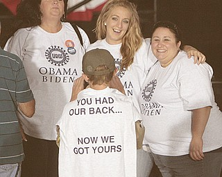 ROBERT  K.  YOSAY  | THE VINDICATOR --..Vice President Joe Biden made several stops in the area on Friday as he stopped in the  UAW  1714  Mocha House and the Canfield Fair..UAW supporters with fresh Tshirts in support of the Obama Administration ...(AP Photo/The Vindicator, Robert K. Yosay)