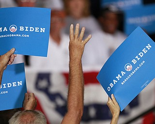 ROBERT  K.  YOSAY  | THE VINDICATOR --..The Chant  4 more years  was prevelent - through out the talk..Vice President Joe Biden made several stops in the area on Friday as he stopped in the  UAW  1714  Mocha House and the Canfield Fair...(AP Photo/The Vindicator, Robert K. Yosay)