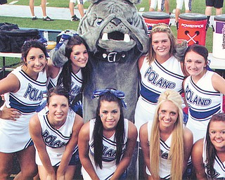 Poland High School varsity cheerleaders pose with the Bulldog mascot during Poland's game against Northwest High School. Front row, left to right: Erica Kerr, Natalie Dragovich, Kelsey Gill and Kayli Jack. Back row, left to right: Alyssa Carline, Mallory Magni, Makenzie Clark and Katie Rubesa