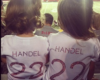 Cardinal Mooney's #22 Mark Handel's biggest fans: cousins Stella and Lily Sardich