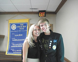 Canfield High School student Dallas Turner is shown with Brianna Komara Pridon, Canfield Rotary's president. Dallas will spend the next school year in Brazil.
