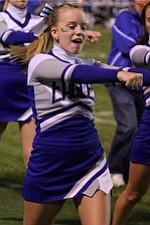 IMG 3435:Senior cheerleader Samantha Mock of Hubbard cheers during Friday nights football matchup against Struthers High School at Hubbard High School. ÊDustin Livesay Ê| ÊThe Vindicator Ê9/21/12 ÊHubbard, Ohio