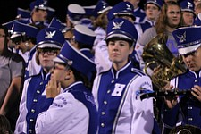 IMG 3469: Sophomore band member Meredith Donahue anxiously awaits halftime so she can perform with her clarinetÊduring Friday nights football matchup against Struthers High School at Hubbard High School. ÊDustin Livesay Ê  ÊThe Vindicator Ê9/21/12 ÊHubbard, Ohio