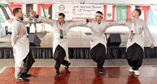 Performing Palestian traditional dancing are from leftn are Mureed Amireh, Ike Omran, Mahammed Salman and Samir Esmail during the Arab  American Festival of Youngstown Saturday.