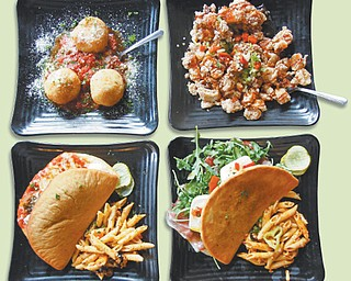 V2's signature dishes include (clockwise) Arancini diRiso, Crispy Calamari, Prosciutto DiParma and the Meatball Melt.
