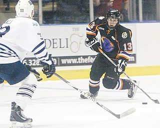 Ryan Lowney (13) is one of three healthy defensemen returning to the Youngstown Phantoms for the 2012-13 season. The Phantoms open their season Friday at home.