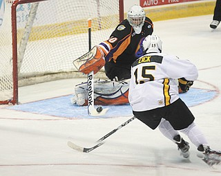 After a season as backup goalie to the Youngstown Phantoms' Matt O'Connor, Sean Romeo (30) is ready to step out into the spotlight as a starter. Romeo will be in goal today when the Phantoms open their fourth USHL season against Omaha at the Covelli Centre.