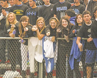 Poland students cheer on the Bulldogs against Canfield last week