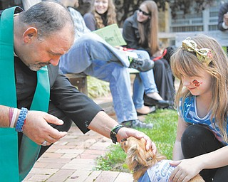 The Rev. Jeff Baker of Christ Episcopal Church in Warren blesses Pup, a long-haired chihuahua owned by Madison Kuta, 6. The church conducted its sixth annual Pet Celebration on Sunday.