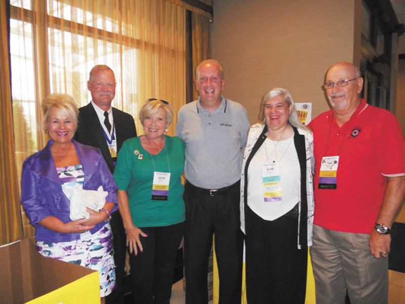 "Kiwanis Ohio District members took school supplies to their recent convention in Boardman to participate in the United Way of Mahoning Valley's ""Stuff the Bus"" campaign. Among those involved with the project were Phyllis Ricadonna of Steubenville, left, Lt. Governor for Division 21; Randy Beard of Warren, immediate past president of the Ohio District Kiwanis Foundation; Katie Rennard of Akron, district convention service chair; Bob Hannon, executive director of United Way of the Mahoning Valley; Barbara Smith of Girard, Ohio district convention chair; and Tom Eisenbraun of Youngstown Kiwanis Club and past governor of Division 21."
