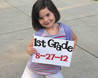 Carley Johnston, 6, of Poland was very excited to pose for pictures on her first day of first grade at Struthers Elementary School. The picture was taken by Carley's mom, Cara Johnston.