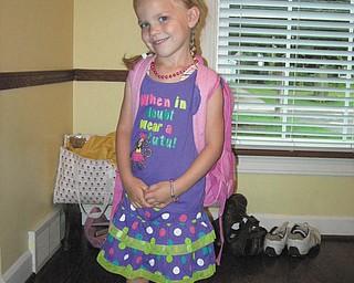 Lanie Joyce of Boardman is all smiles on her first day of preschool.