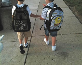This photo of A.J. and Nicko Severino of Youngstown on their first day of school was sent by their mom, Juli Severino. A.J. is in second grade, and Nicko just started kindergarten.