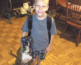 Keegan, of Niles, is all ready to go on his first day at Rhodes Elementary.