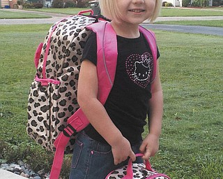 This little cutie, Mary Melone, 4, of Boardman, on her first day of preschool at St. Christine's. Sent in by Kristy Melone.