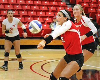 MADELYN P. HASTINGS | THE VINDICATOR  Alexis Egler passes the ball during the YSU Loyola game.