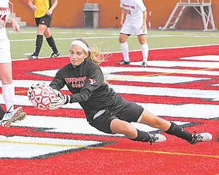 Jackie Podolsky of Canfield has gone from walk-on to goalkeeper for the YSU women's soccer team. She made  five saves during the Penguins' record-breaking seventh win.