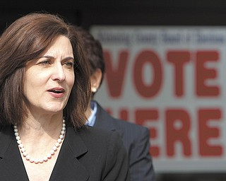 Vicki Kennedy, the wife of the late U.S. Sen. Ted Kennedy, said President Barack Obama, a fellow Democrat, has a stronger record of commitment to women than Mitt Romney, the Republican presidential nominee. Kennedy spoke Wednesday outside the Mahoning County Board of Elections in Youngstown.