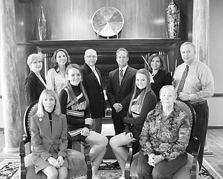 Robert K. Yosay | The Vindicator Among those participating in the National Philanthropy Day Award luncheon are: seated, Suzyn Schwebel Epstein, left, Andra Andrant, Taylor Gamble and Roberta Hannay; and standing, Carol Chamberlain, left, Stacey Zines, Matt Yerkey, Ted Schmidt, Susan Moorer and Frank Zamerelli.