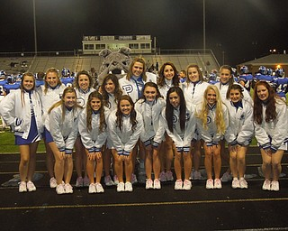 Poland Seminary High School varsity and junior varsity cheerleaders celebrate senior night and a win over Youngstown East