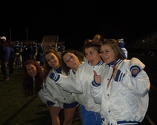 Poland cheerleaders, Paige, Becca, Erica, Brittany, Lexi anxiously awaiting another touchdown from their Bulldogs