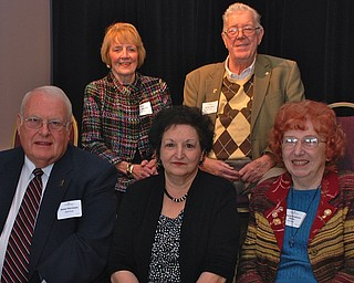 Recipients of the 2012 Valley Legacy Award for Outstanding Seniors are: seated, James E. Herriman, left, Diana Bauman and Beverly Poidmore Pariza, and, standing, Carol Bigelow, left, and George Grim.