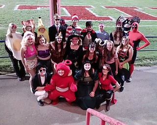 Senior members of the Niles McKinley High marching band traded in their usual uniforms last Friday and replaced them with their favorite Halloween costumes. The band members performed their halftime show in the costumes.