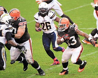 Cleveland Browns running back Trent Richardson (33) runs the ball against the San Diego Chargers in