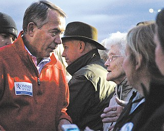 John Boehner chats with Virginia Whitacre of Warren after his speech in Niles on Sunday.