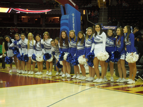 Poland Varsity and Junior Varsity cheerleaders await their turn on the floor at a recent Cleveland Cavaliers basketball game