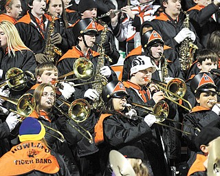 The Howland band plays during the Tigers' playoff game last week.