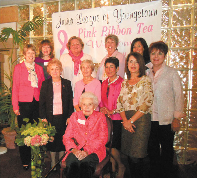 The Junior League of Youngstown honored breast-cancer survivors of the Mahoning Valley for the 18th year at its Pink Ribbon Tea recently at The Georgetown Banquet Center. Survivors shared their stories, struggles and victories. The Pink Ribbon Tea committee includes Sallie McKelvey, foreground; front row from left, Connie Knecht, Gretchen Backus, chairwoman Annette Camacci and Anna Marie Newman; and back row from left, Cindy Bennett, Paula Stefanski, Susan Berny, Rae Lackner, Sue Trebilcock and Pat Butto. Brenda M. Rider, founder of A Way With Words Foundation and a 13-year breast-cancer survivor, presented the program at this year's event. A Way With Words is a nonprofit foundation dedicated to anyone who has been touched by cancer. ROCcK (Raising Our Commitment to Cancer Kids, a children's choir formed by Rider, performed at the event. Generous support of members and corporate underwriters made it possible for 400 survivors to attend the event free of charge.