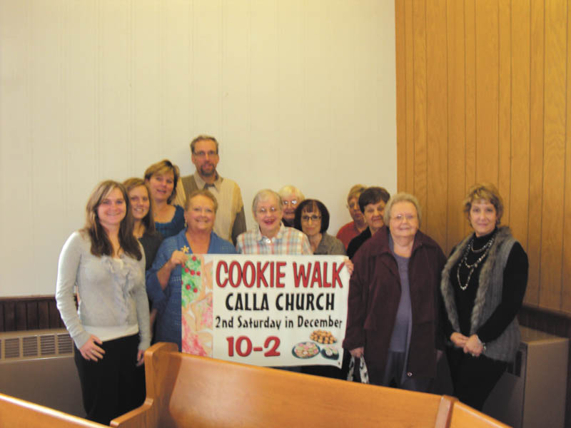 Calla Community Church, 6482 W. Calla Road, Canfield, between Route 46 and Lisbon Road, will sponsor a Christmas cookie walk from 10 a.m. to 2 p.m. Dec. 8. Church members preparing for the walk are in the front row, Emmalee Wince, left, Olivia Wine, Janet Schlegel, Gail Owens, Diana Houston, Judy Proverbs, Mary and Deanna Dunaway. In the back are Christine Wince, left, Patrick Smith, Shirley Baker and Karen Hazen. Cookies will be $4.50 a dozen and can be mixed and matched. Church cookbooks will also be for sale. Proceeds will support the church and its mission work. For information call the church at 330-533-6007.