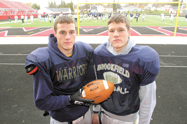 Jeremy and his twin brother, Jimmy, above right, a wide receiver and linebacker, have been instrumental in helping the Warriors' reach the Division IV, Region 13 final Friday against Creston Norwayne.