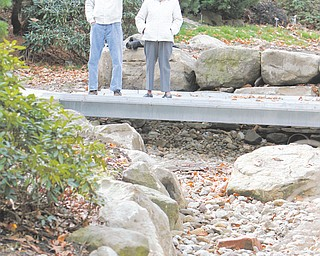 Jack Anderson and Barbara Dean look over the new bridge and drainage area along the new path in Fellows Riverside Gardens of Mill Creek MetroParks. Anderson designed the handicapped accessible path that goes through the gardens' native woodlands display.