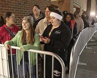 William d Lewis the Vindicator   First in line outside Boardman Target store Thursday night for the 9pm opening  were from left, Olivia Schaeffer, 13, Catherine Blackwell, 16, and Allison Schaeffer, 18, all of Norwalk oh.